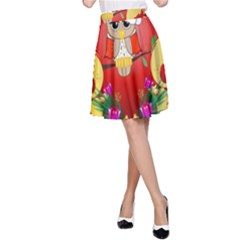 Funny, Cute Christmas Owl  With Christmas Hat A-Line Skirts