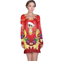 Funny, Cute Christmas Owl  With Christmas Hat Long Sleeve Nightdresses