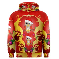 Funny, Cute Christmas Owl  With Christmas Hat Men s Zipper Hoodies