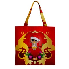 Funny, Cute Christmas Owl  With Christmas Hat Zipper Grocery Tote Bags