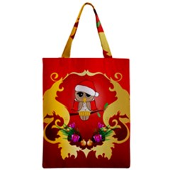 Funny, Cute Christmas Owl  With Christmas Hat Zipper Classic Tote Bags
