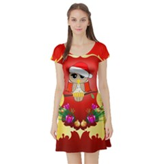 Funny, Cute Christmas Owl  With Christmas Hat Short Sleeve Skater Dresses