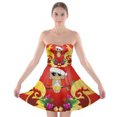 Funny, Cute Christmas Owl  With Christmas Hat Strapless Bra Top Dress