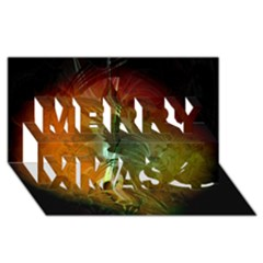Beautiful Abstract Floral Design Merry Xmas 3D Greeting Card (8x4)