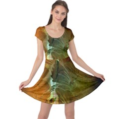 Beautiful Abstract Floral Design Cap Sleeve Dresses