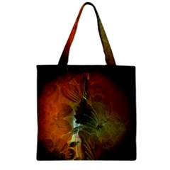 Beautiful Abstract Floral Design Zipper Grocery Tote Bags