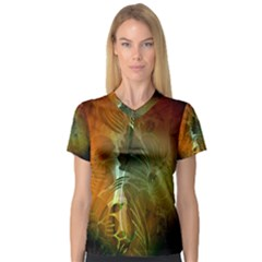 Beautiful Abstract Floral Design Women s V-Neck Sport Mesh Tee