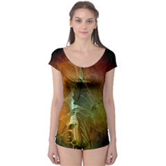Beautiful Abstract Floral Design Short Sleeve Leotard