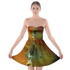 Beautiful Abstract Floral Design Strapless Bra Top Dress