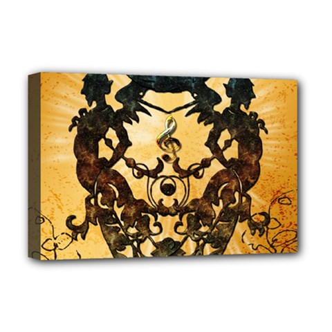 Clef With Awesome Figurative And Floral Elements Deluxe Canvas 18  x 12