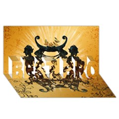 Clef With Awesome Figurative And Floral Elements BEST BRO 3D Greeting Card (8x4)