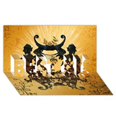 Clef With Awesome Figurative And Floral Elements Best Sis 3d Greeting Card (8x4)