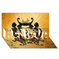 Clef With Awesome Figurative And Floral Elements BELIEVE 3D Greeting Card (8x4)