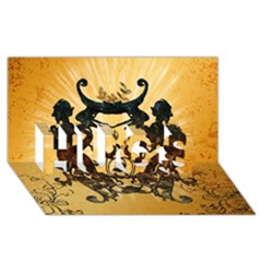 Clef With Awesome Figurative And Floral Elements HUGS 3D Greeting Card (8x4)
