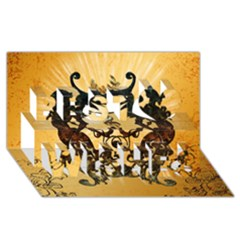 Clef With Awesome Figurative And Floral Elements Best Wish 3d Greeting Card (8x4)