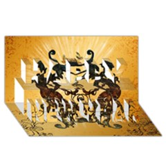 Clef With Awesome Figurative And Floral Elements Happy New Year 3D Greeting Card (8x4)