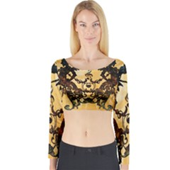 Clef With Awesome Figurative And Floral Elements Long Sleeve Crop Top