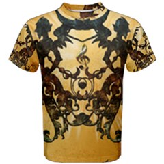 Clef With Awesome Figurative And Floral Elements Men s Cotton Tees