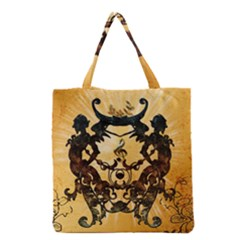 Clef With Awesome Figurative And Floral Elements Grocery Tote Bags
