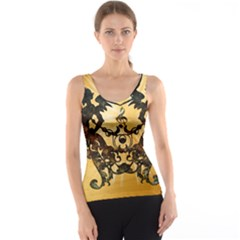 Clef With Awesome Figurative And Floral Elements Tank Tops