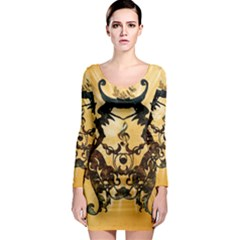 Clef With Awesome Figurative And Floral Elements Long Sleeve Bodycon Dresses