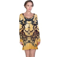 Clef With Awesome Figurative And Floral Elements Long Sleeve Nightdresses