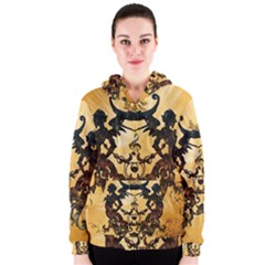 Clef With Awesome Figurative And Floral Elements Women s Zipper Hoodies