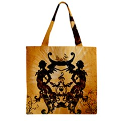 Clef With Awesome Figurative And Floral Elements Zipper Grocery Tote Bags