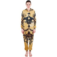 Clef With Awesome Figurative And Floral Elements Hooded Jumpsuit (Ladies)