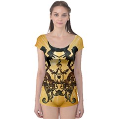 Clef With Awesome Figurative And Floral Elements Short Sleeve Leotard