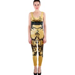 Clef With Awesome Figurative And Floral Elements OnePiece Catsuits