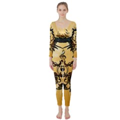 Clef With Awesome Figurative And Floral Elements Long Sleeve Catsuit