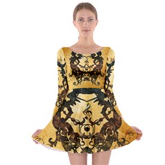 Clef With Awesome Figurative And Floral Elements Long Sleeve Skater Dress