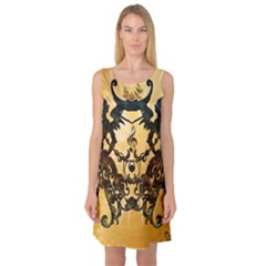 Clef With Awesome Figurative And Floral Elements Sleeveless Satin Nightdresses