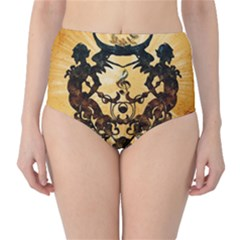 Clef With Awesome Figurative And Floral Elements High-Waist Bikini Bottoms