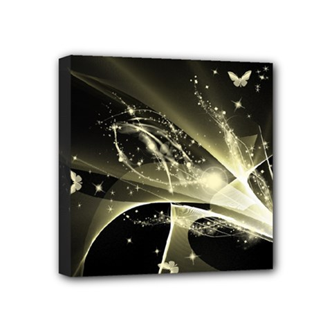 Awesome Glowing Lines With Beautiful Butterflies On Black Background Mini Canvas 4  x 4