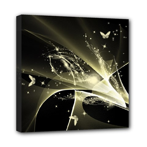 Awesome Glowing Lines With Beautiful Butterflies On Black Background Mini Canvas 8  x 8