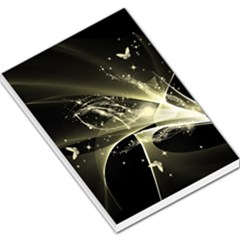 Awesome Glowing Lines With Beautiful Butterflies On Black Background Large Memo Pads