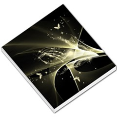 Awesome Glowing Lines With Beautiful Butterflies On Black Background Small Memo Pads
