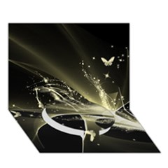 Awesome Glowing Lines With Beautiful Butterflies On Black Background Circle Bottom 3D Greeting Card (7x5)