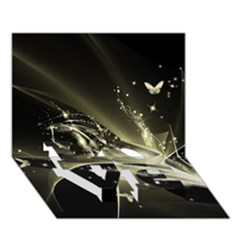 Awesome Glowing Lines With Beautiful Butterflies On Black Background LOVE Bottom 3D Greeting Card (7x5)