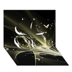 Awesome Glowing Lines With Beautiful Butterflies On Black Background Clover 3D Greeting Card (7x5)