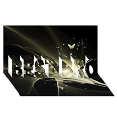 Awesome Glowing Lines With Beautiful Butterflies On Black Background BEST BRO 3D Greeting Card (8x4)