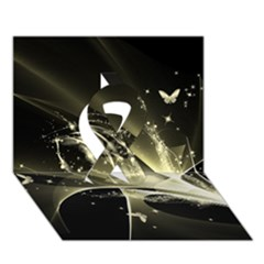 Awesome Glowing Lines With Beautiful Butterflies On Black Background Ribbon 3D Greeting Card (7x5)