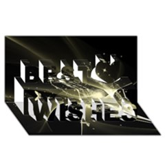 Awesome Glowing Lines With Beautiful Butterflies On Black Background Best Wish 3d Greeting Card (8x4)