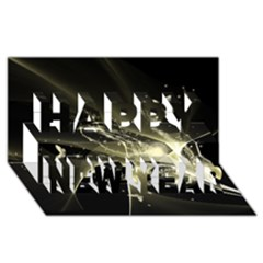 Awesome Glowing Lines With Beautiful Butterflies On Black Background Happy New Year 3D Greeting Card (8x4)