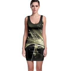 Awesome Glowing Lines With Beautiful Butterflies On Black Background Bodycon Dresses