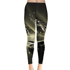 Awesome Glowing Lines With Beautiful Butterflies On Black Background Women s Leggings