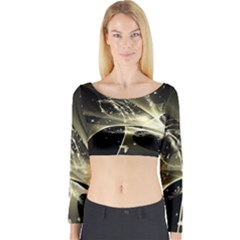 Awesome Glowing Lines With Beautiful Butterflies On Black Background Long Sleeve Crop Top