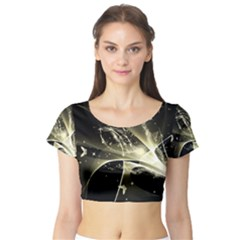 Awesome Glowing Lines With Beautiful Butterflies On Black Background Short Sleeve Crop Top